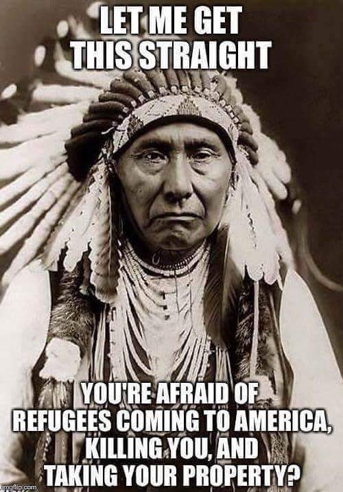 Let me get this straight....you are afraid of refugees coming to America killing you & taking your property? https://t.co/R03JqnpSco