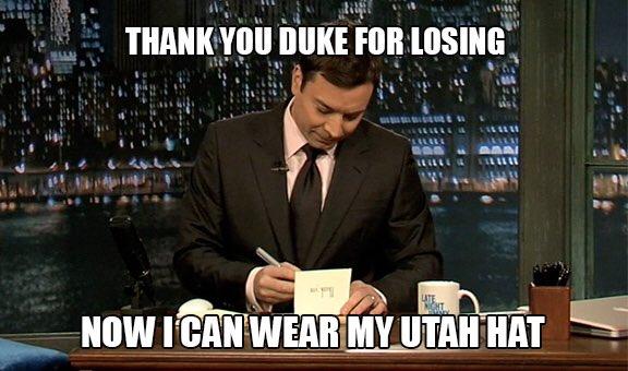 Just @jimmyfallon writing thank you cards.  #WearTheHat  #GoUtes https://t.co/u0eWNRClAE