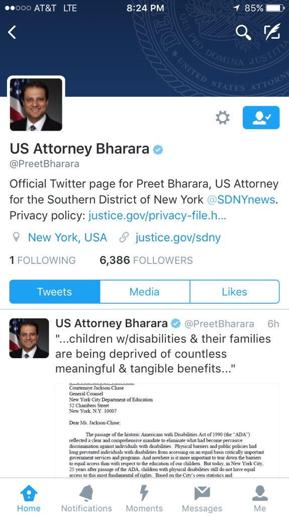 You guys, @PreetBharara is following exactly one person: @IAmSteveHarvey. For real. https://t.co/NkXUWhjkZC