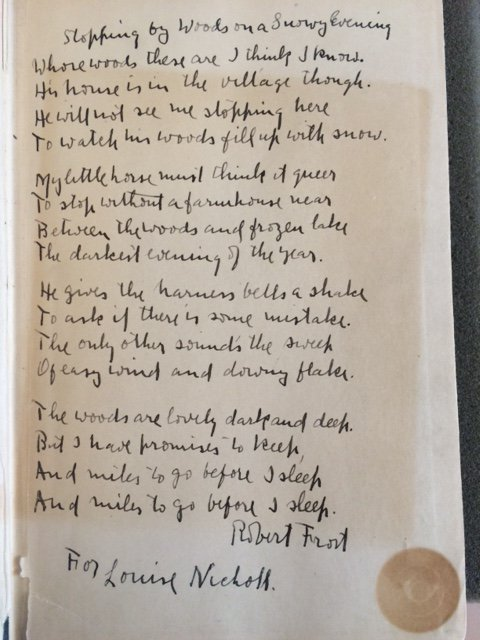 "Robert Frost's manuscript poem, ""Stopping by Woods on a Snowy Evening""  @BeineckeLibrary https://t.co/MTR67cugLW"