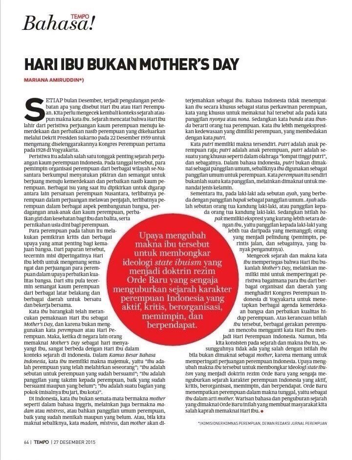'hari ibu bukan mother's day', sebuah artikel soal pergeseran makna hari perempuan/hari perjuangan kaum perempuan. https://t.co/QPnBONByWB