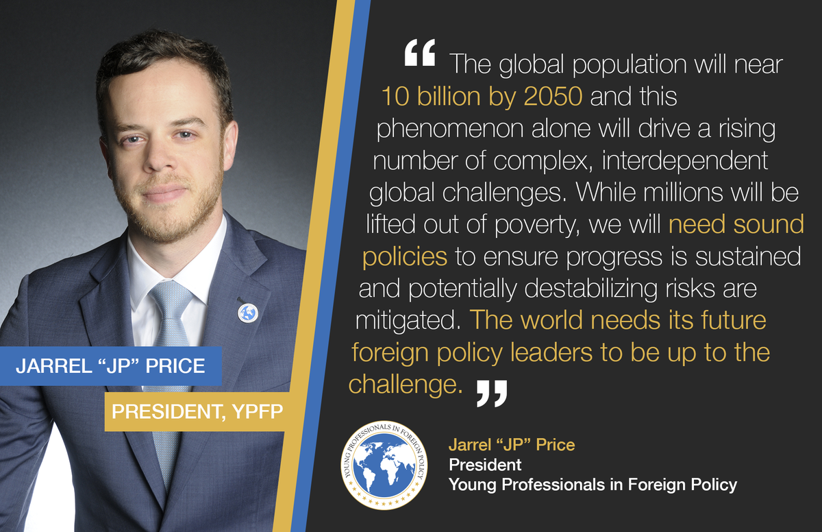 """YPFP president Jarrel """"JP"""" Price shares his thoughts on #Worldin2050 for our partnership with @diplocourier https://t.co/5BFYJAeRIh"""