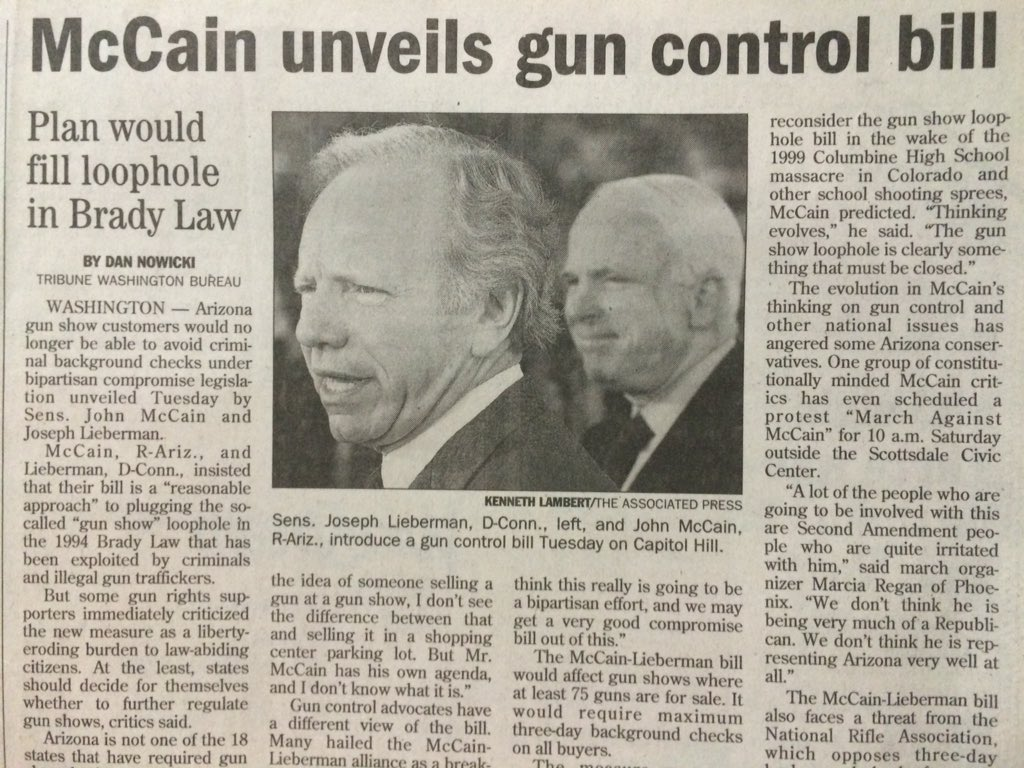In gun remarks, @POTUS cites past @SenJohnMcCain legislation to plug gun-show loophole. My story from May 16, 2001. https://t.co/BXwnDjQeu8