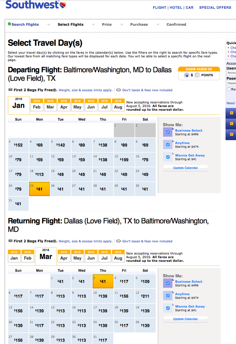RT @airfarewatchdog: BWI-Dallas Love $41 each way $82 RT late Jan thru Early Mar