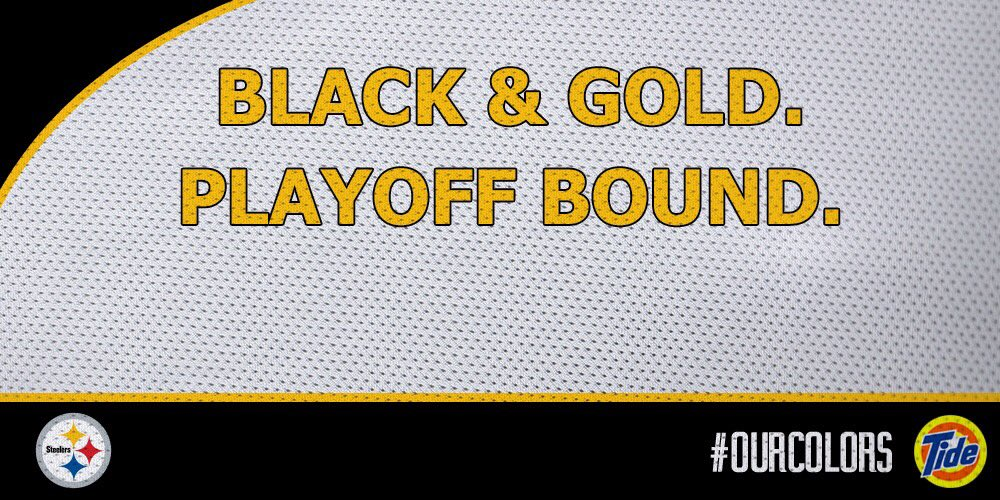 The Pittsburgh #Steelers are playoff bound!!! @TideNFL The Black & Gold legacy continues! #OurColors https://t.co/vWlvZDNWQm
