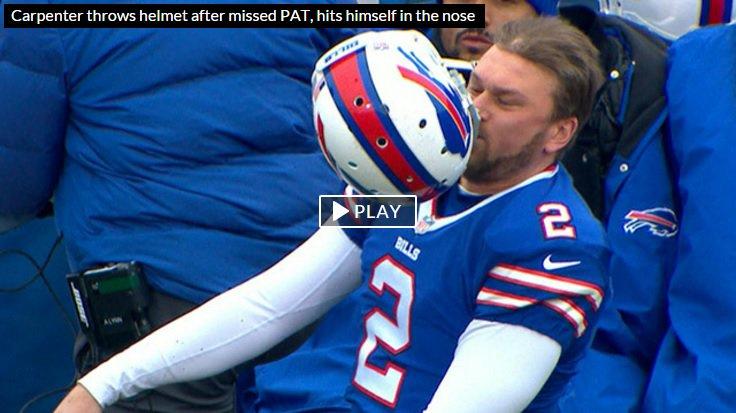 Dan Carpenter's helmet slam is ... NO GOOD. Video: https://t.co/ksXm6TGtmk https://t.co/oSk4tLZbKS