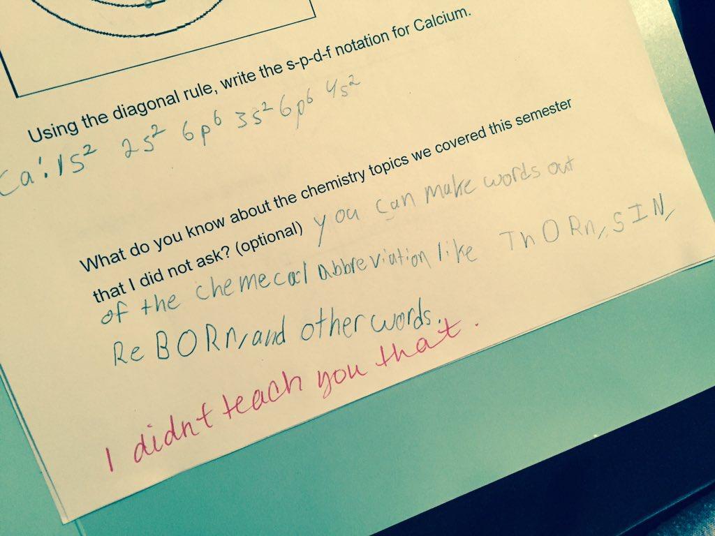 "Ummmmm ""I didn't teach you that."" Lol #chemistry https://t.co/N6vP757VCn"