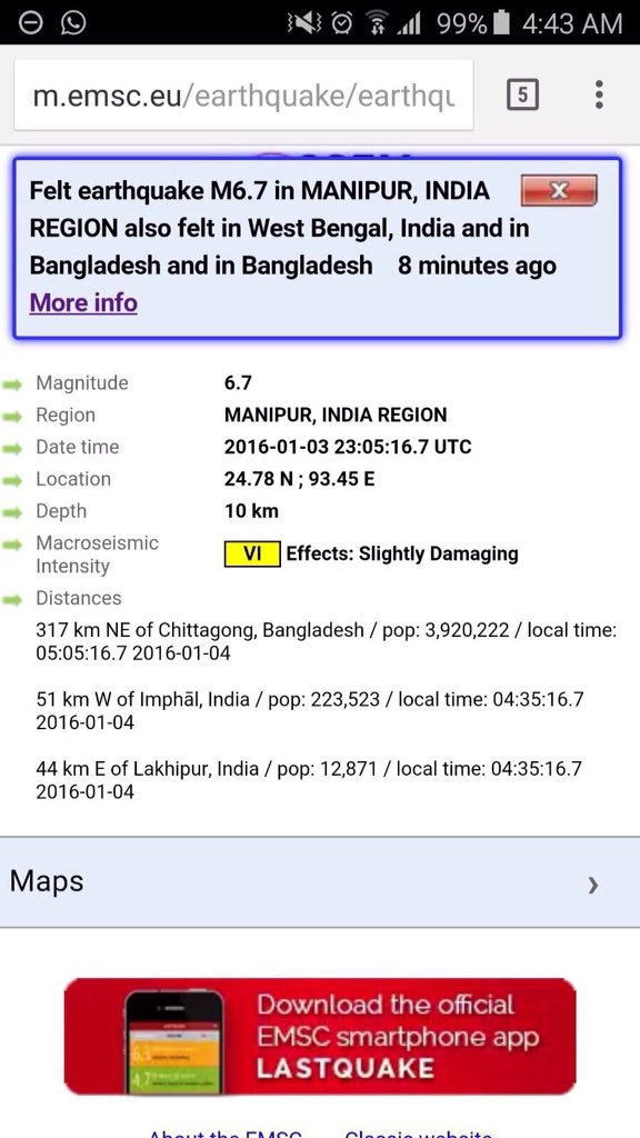 #Earthquake in NE #India at 6.7 with epi-center at Imphal/Manipur today morning. Hope all you/your family is safe https://t.co/UHpttCkkIv