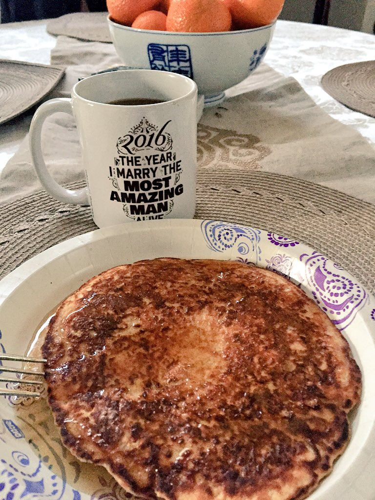 Day 1 #ToneItUpChallenge! Protein Pancakes, coffee, work out ✔️ #namaste
