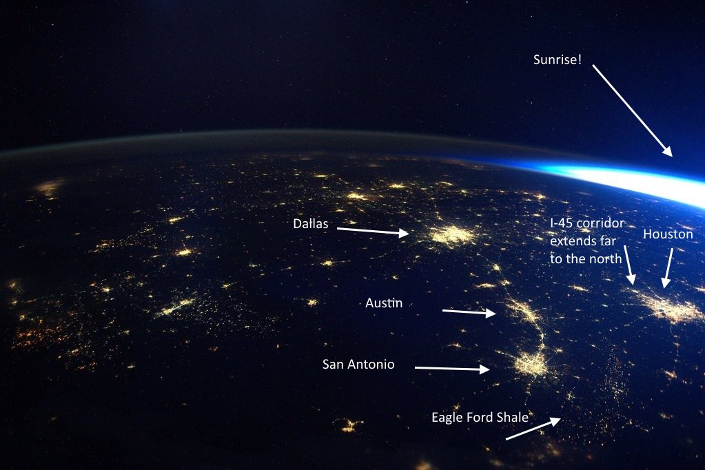 This morning @StationCDRKelly took a badass photo of Texas from space. Here's an annotated version: https://t.co/QZ1lgLKnVo
