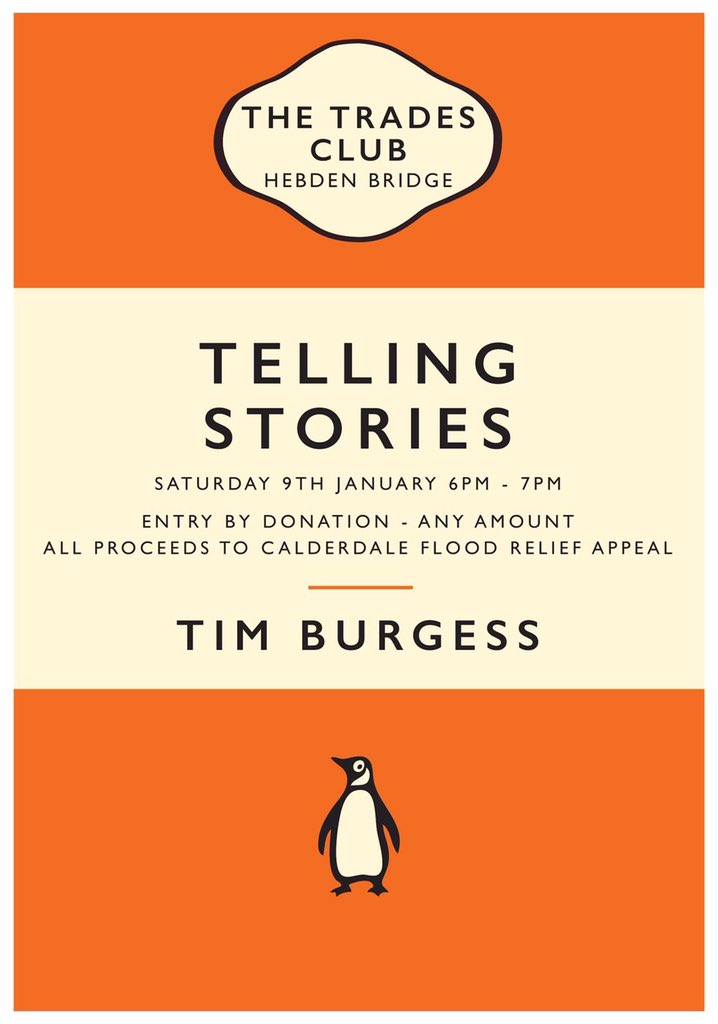 Tim will be at @thetradesclub in Hebden Bridge on Saturday evening - all proceeds going towards flood relief https://t.co/JW7aKNpZKH