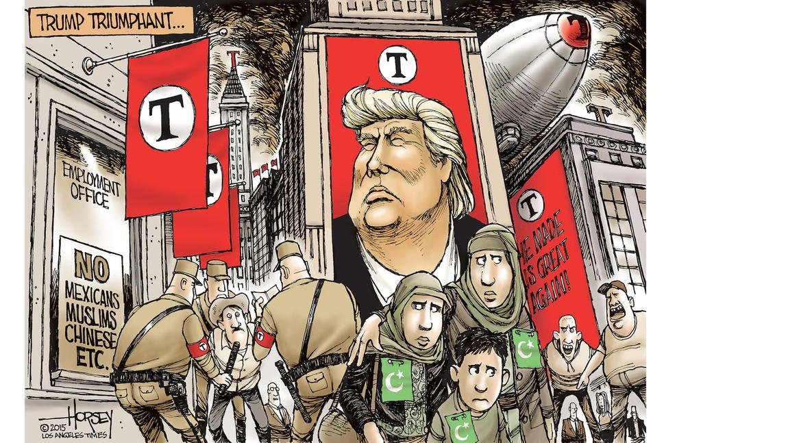"""An excellent cartoon too - """"Donald Trump's fascist inclinations do not bother his fans"""" https://t.co/LIohGMnh5G https://t.co/lYTi9k9Kg3"""