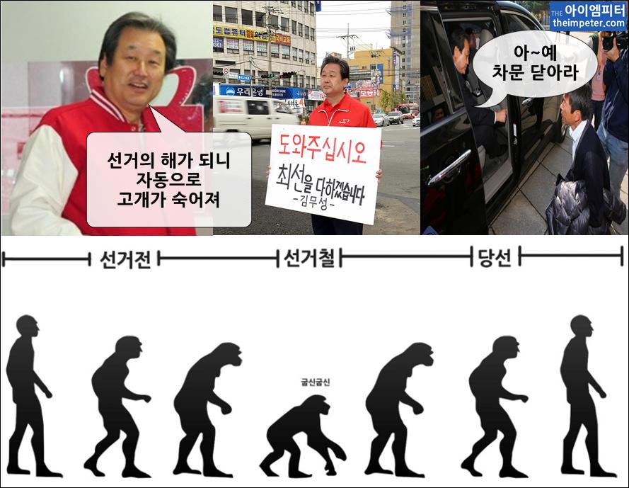 김무성 새누리당 대표는 청와대 신년인사회에서 '선거의 해가 되니까 자동으로 고개가 숙어진다'는 말을 했습니다. 그의 말이 농담처럼 느껴지지 않습니다.https://t.co/n1C32lCq51 #아이엠피터 https://t.co/woS3Gc2ONL