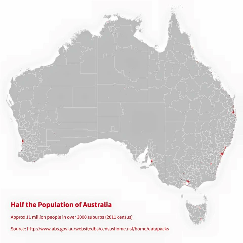 Half the population of Australia lives in the red areas on this map. (You might have to zoom). https://t.co/gXPc7SWnKg