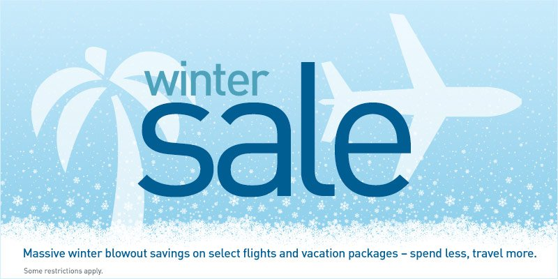 WinterSale on now! Save on flights & vacations. Book by 1/12 (2359 MT). Travel until 6/22.