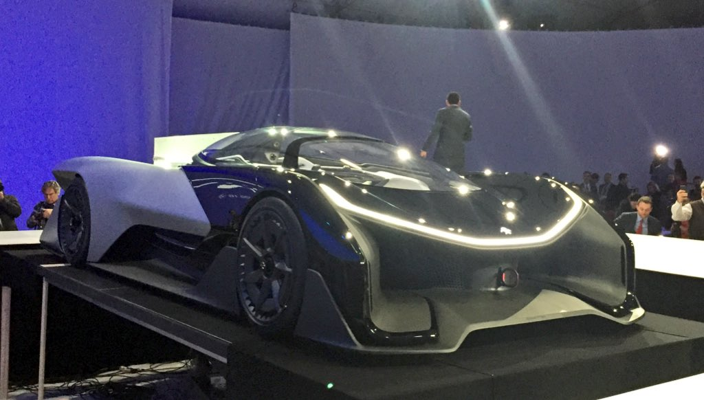 The front of the Faraday FFZERO1. Did I mention they won't let me drive it home? #CES2016 #EngadgetCES https://t.co/zlYCbsDaxr