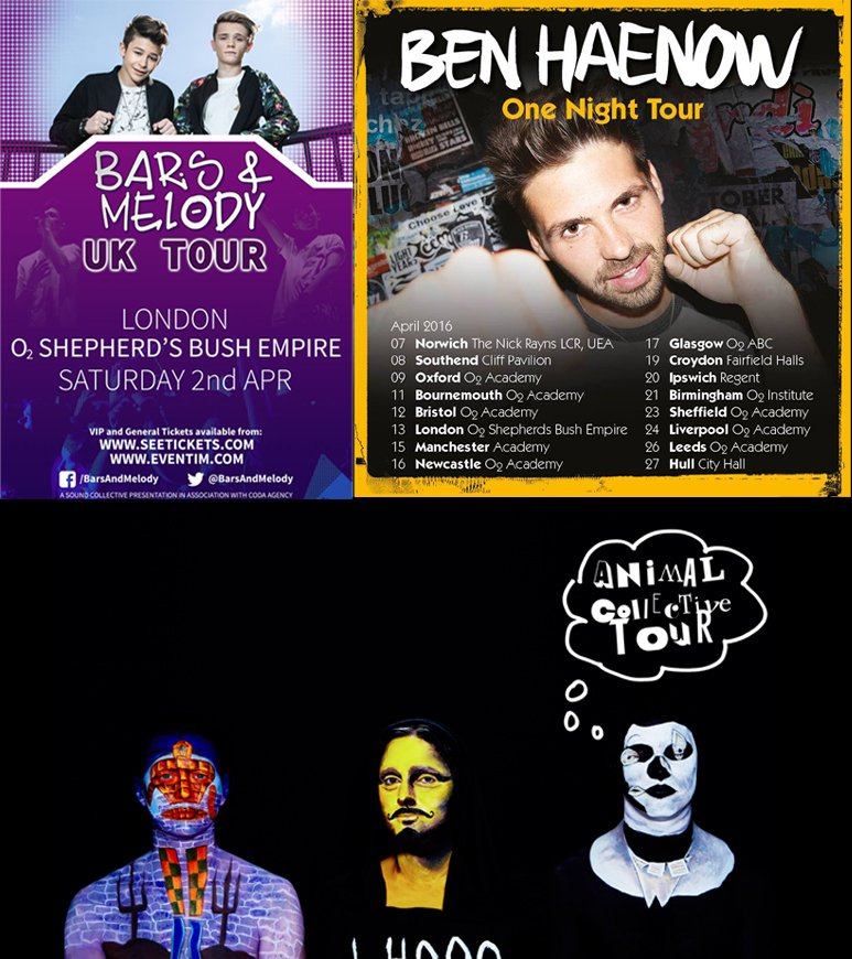 Coming up in April 2016: @anmlcollective @BenHaenow @BarsAndMelody + More!  Tix: https://t.co/vlqtFzMN2z https://t.co/0t3JUJnhRT