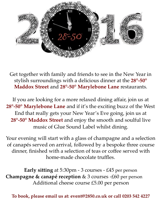 One more comp for 2015 - RT to Win a three course meal for two people at either Maddox Street or Marylebone Lane https://t.co/MVVZxaM5Rz