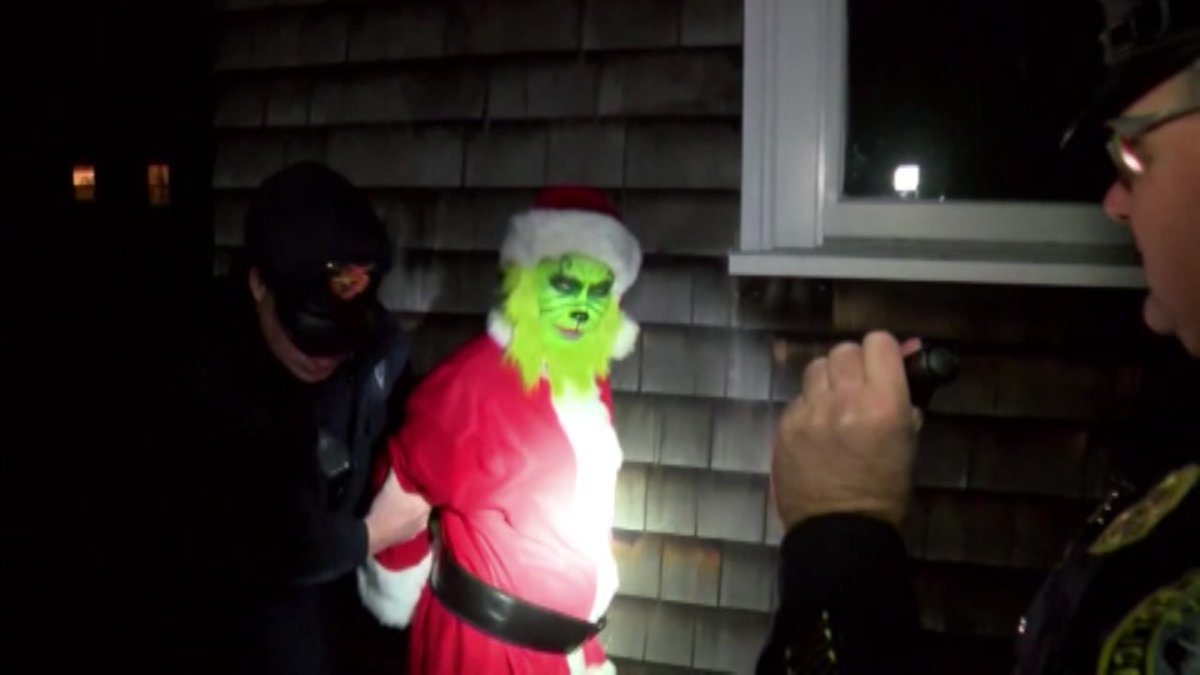 Hilarious! Police catch man dressed as #Grinch stealing from home. VIDEO: https://t.co/m3o1xVsxR8 #ChristmasEve https://t.co/xTqf5CXz7b