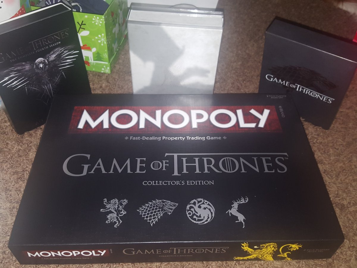 @WatchersOTWall first four Seasons and Monopoly! (and a Valar Morghulis mug not pictured here.) https://t.co/eBcUP8q6Hc