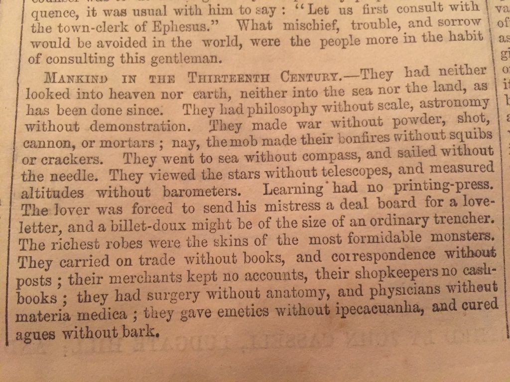 How modernity changes! From 1854, contemplating how living standards changed since 13thC. Weird focus on emetics.. https://t.co/2p4OJM0lID