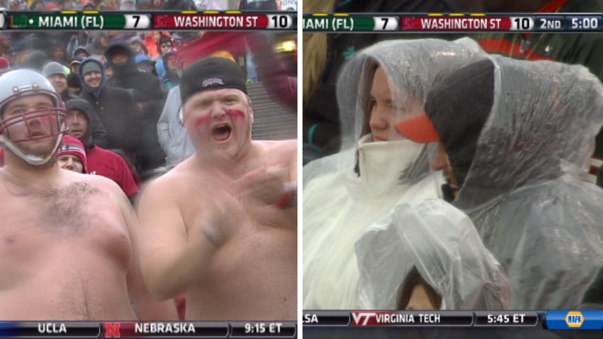 Washington State fans don't seem to mind the weather.  Miami fans on the other hand... https://t.co/24cx8kWhB9