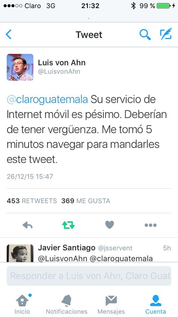Saludos le dejó @LuisvonAhn a @claroguatemala https://t.co/zu0gKhDKEh