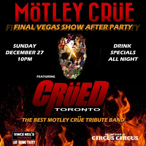 Join us tomorrow @thevinceneil's Restaurant & Bar for a special @MotleyCrue after party featuring #Crüed! https://t.co/DZgADyfmEv