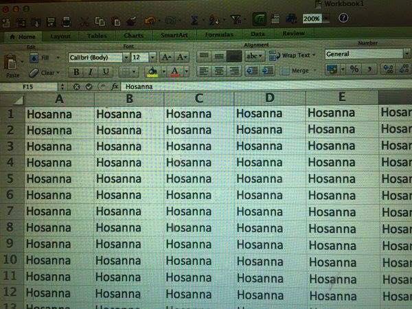Hosanna in Excel sheets https://t.co/u6WIMYwDKY