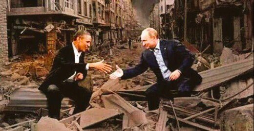 One plays Mr nice; the other Mr ugly. Syrians get slaughtered & people around the world cheer! #Syria https://t.co/OrXmJAIyrX
