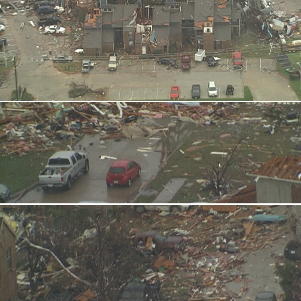 1st aerial images in Rowlett & Garland. #prayfortexas #tornado https://t.co/zufi53KxxF