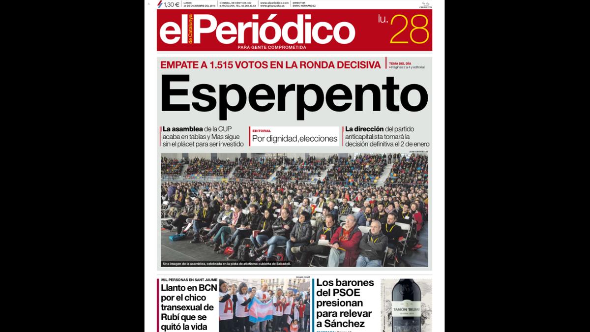 """Esperpento Portada de EL PERIÓDICO sobre la asamblea de la CUP, y editorial: """"Por dignidad, elecciones ya"""" #ANECUP https://t.co/tXOJEIJCLR"""