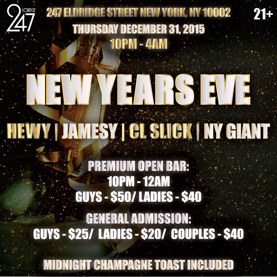 Come spend NYE w/ us & end the year right cc: @JAMESYNYC @hewyheff @djclslick @djnygiant https://t.co/E7qEXeee9K