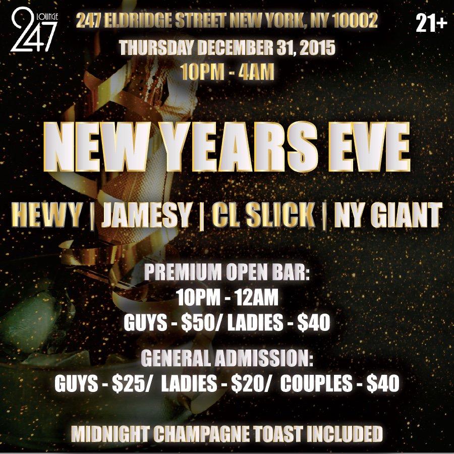 Come spend NYE w/ us & end the year right cc: @JAMESYNYC @hewyheff @djclslick @djnygiant https://t.co/E7qEXeee9K