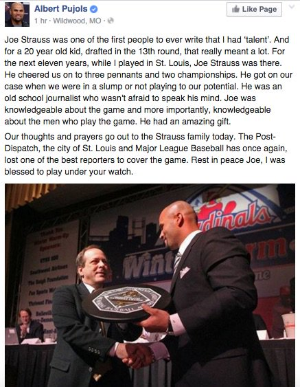 An extended post from @PujolsFive on Facebook re: the passing of @joestrauss (h/t @andrewdmoses) https://t.co/GqhbfJ10Gf