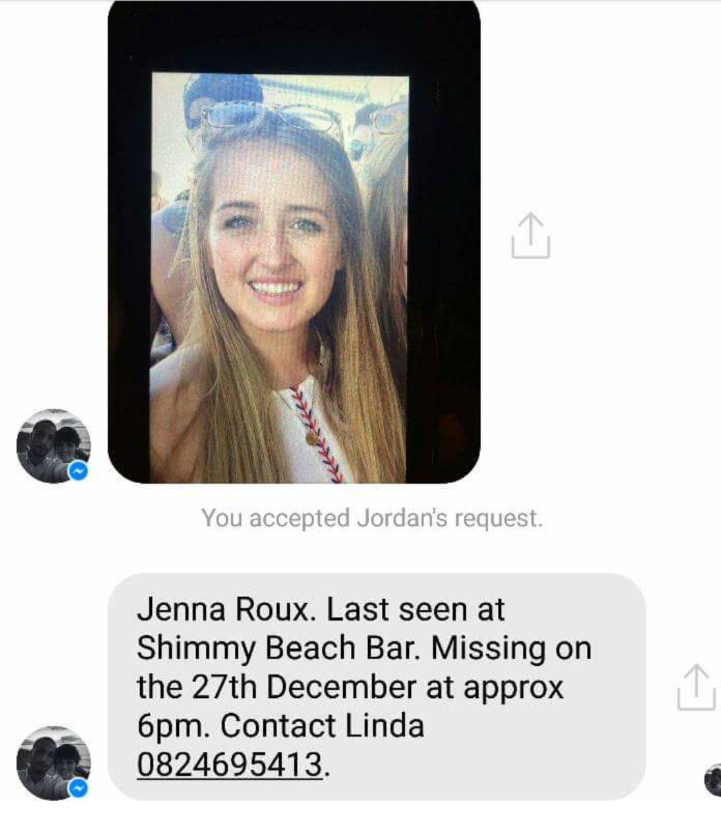 MISSING: Jenna Roux #HelpFindJenna #JennaRoux  @RyanOConnorZA @Abramjee @MrCPT @KFMza @LifeisSavage @MyCityByNight https://t.co/cwahUEs5cD