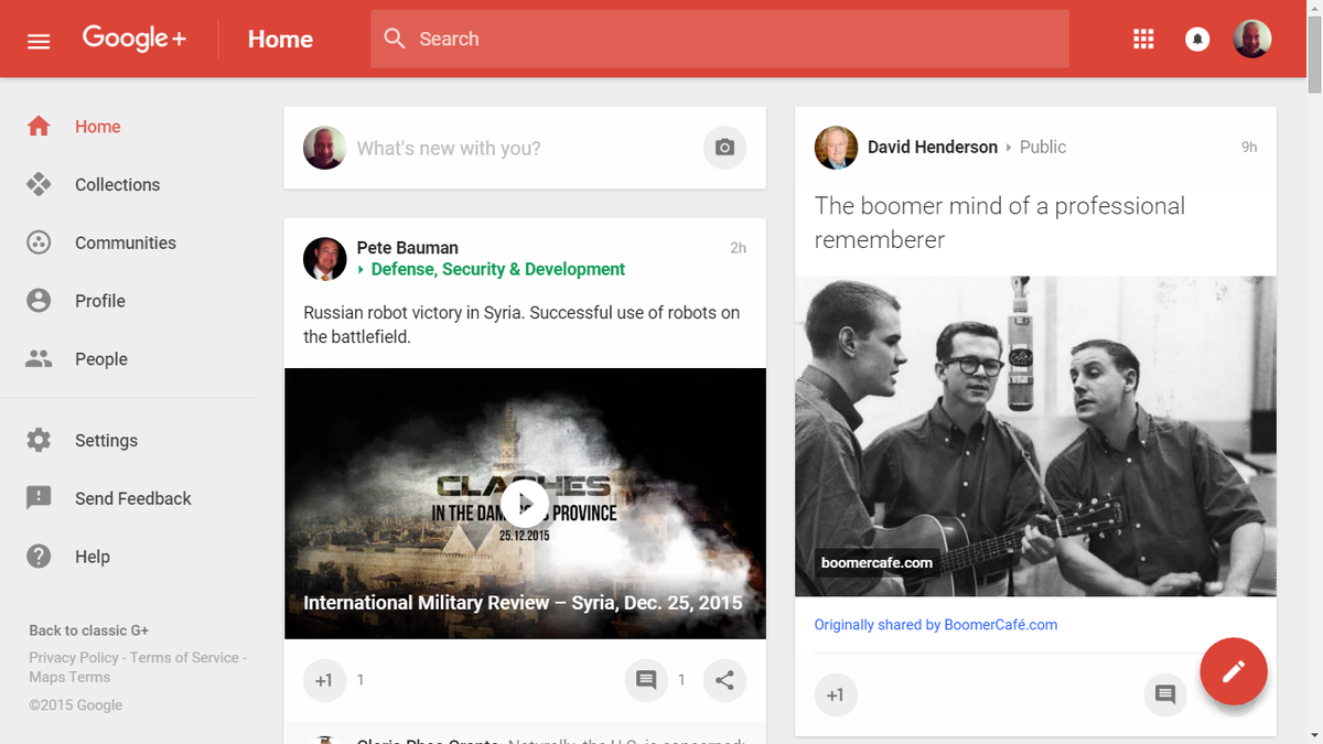 I must admit that the new @googleplus is gorgeous. Here's hoping it ceases being a #zombiehorde https://t.co/9ab3xlCfzZ