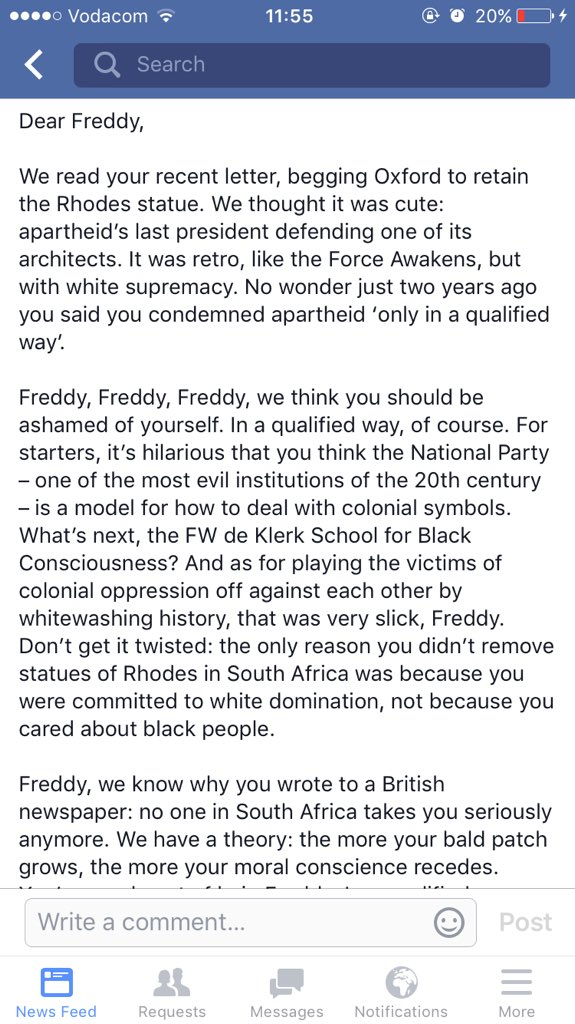 Rhodes Must Fall at Oxford University has written FW De Klerk an open letter https://t.co/zxIrtd5gJ6