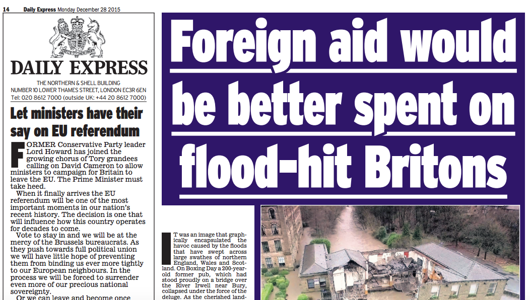Striking to see right-wing papers - Sun, Mail, Express - lining up to use #ukfloods to attack foreign aid https://t.co/gm9wEDQnK0