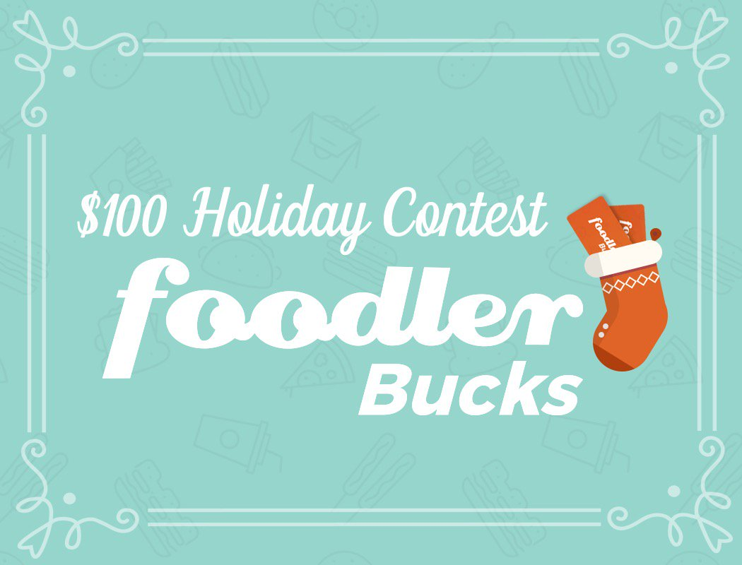 Time for a holiday giveaway!! Follow us on Twitter and retweet this post to be entered to win $100 FoodlerBucks! https://t.co/oMboUOHC0a