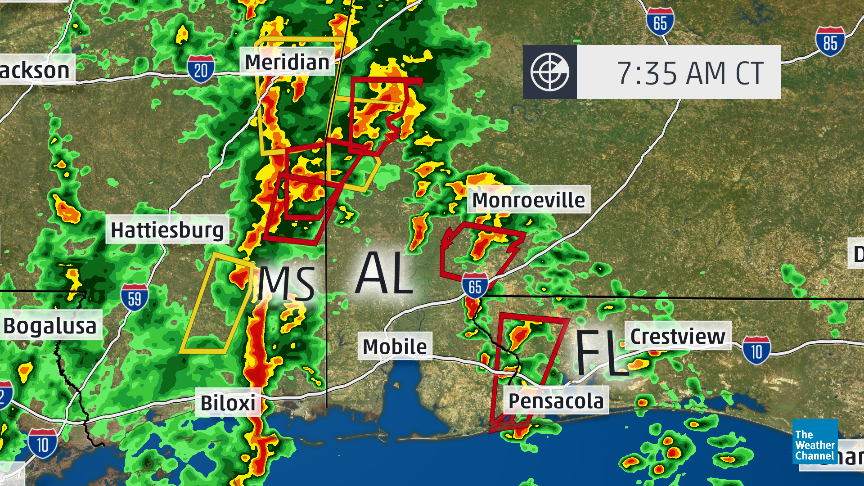 Map Multiple Tornado Warnings Red Boxes In Mississippi Alabama And Florida Panhandle Atweatherchannel
