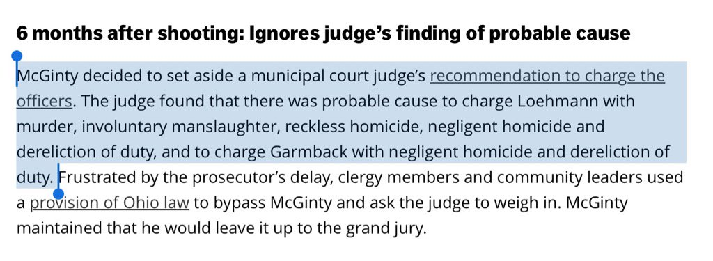 Let's not forget: A municipal judge reccomended that the cops who killed #TamirRice be charged. McGinty ignored him. https://t.co/xhPX1O0dhp