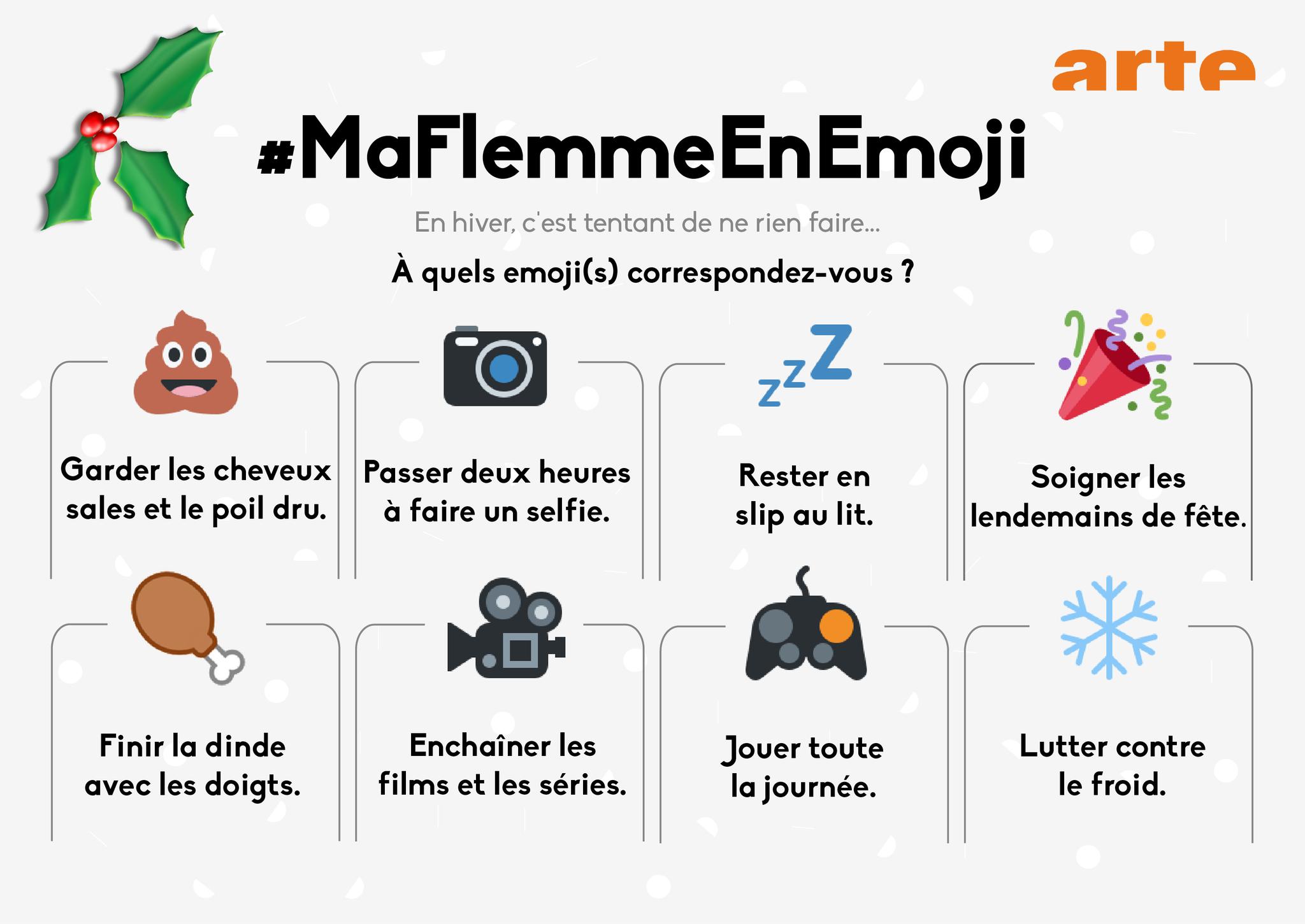 Engourdi(e) par l'hiver ? Tweetez #MaFlemmeEnEmoji + 🎥, 🎮, ❄️, 💩, 📷, 💤, 🎉 ou 🍗 à @ARTEfr et recevez nos suggestions. https://t.co/Z4QjtEFEfS