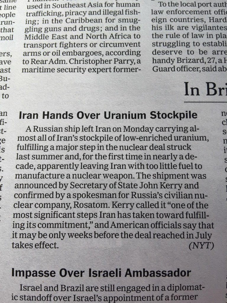 For all the criticism of the Iran deal.. Not sure why this isn't a bigger story.. A big accomplishment https://t.co/0zXqN3Fu9x