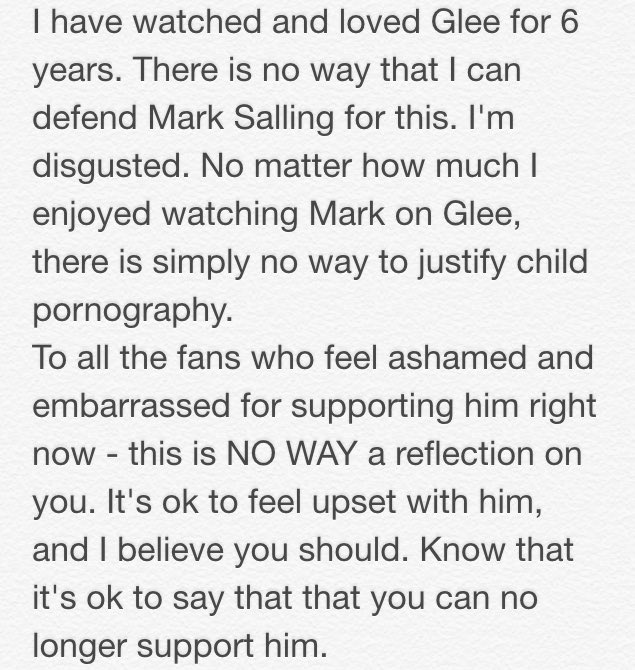 As someone who's watched and loved Glee for 6 years, I just wanted to say this after finding out about Mark Salling https://t.co/u0oWiNcb9U