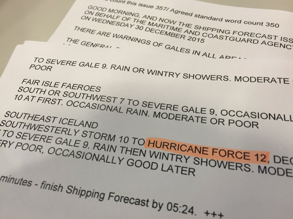 Hurricane Force 12 in the shipping forecast at 05:20 on @BBCRadio4. Pretty rare. #StormFrank https://t.co/LMO8amqfqj