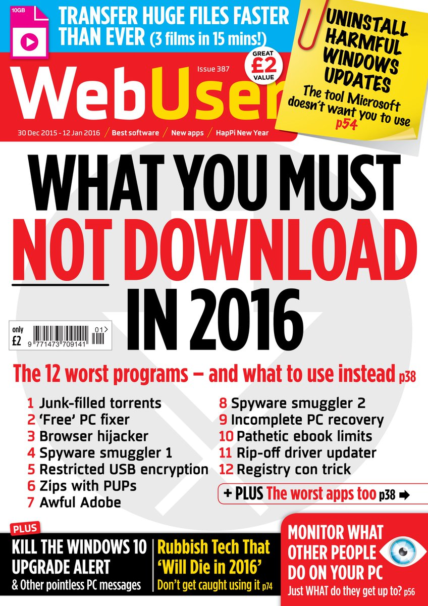 Want to know what NOT to download in 2016? We expose the worst programs and apps in Issue 387 - out now. . . https://t.co/Z4I7rXFCrz