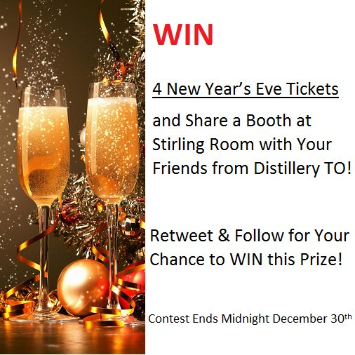 WIN 4 New Year's Eve Tickets! and Share a Booth at Stirling Room in the Distillery District! Retweet & Follow to WIN https://t.co/lRv54jDMPh