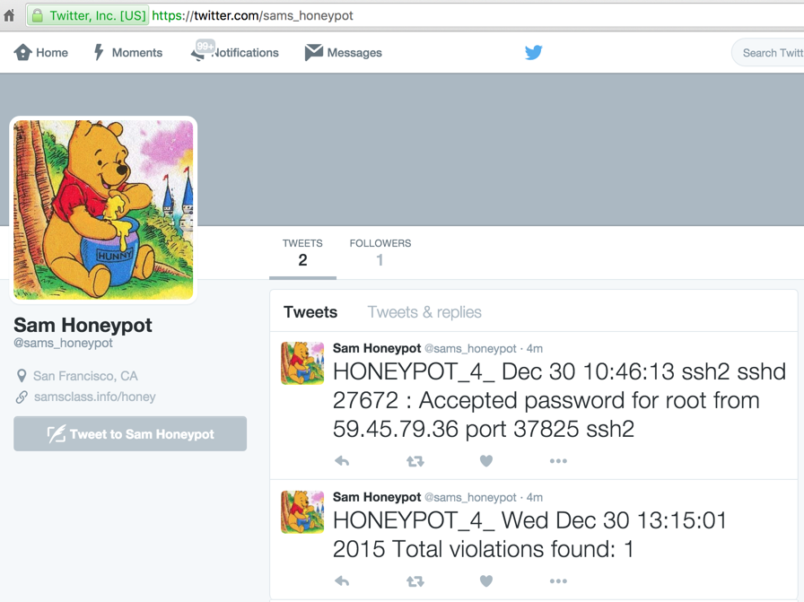 My honeypot now Tweets to alert me when it gets hacked :) (Code at the bottom of this page) https://t.co/L8obmnz7Ya https://t.co/JJfEMMH8OG