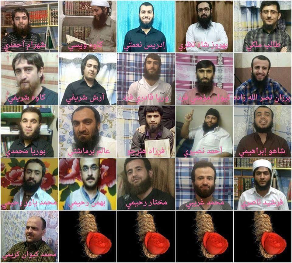 نطالب العالم بالتدخل لمنع #ايران من #اعدام_شباب_السنة ال ٢٧ لمجرد قيامهم بممارسة الشعائر الدينية وتعليم  القرآن !! https://t.co/sxivKwaFr3